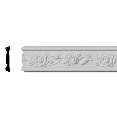3/4 in. x 3-7/8 in. x 94-1/2 in. Polyurethane Running Rose Chair Rail Moulding
