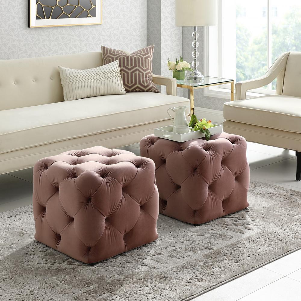 Inspired Home Genevieve Blush Cube Tufted Upholstered Velvet