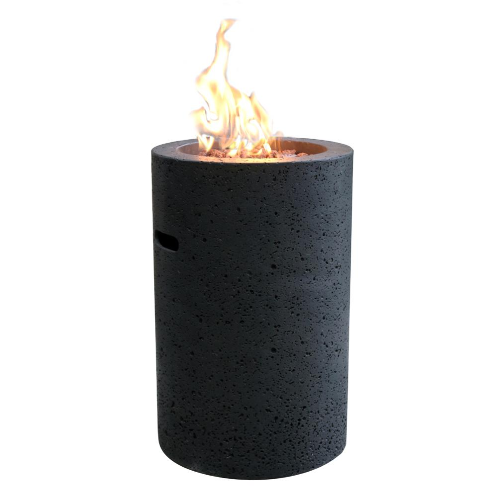 Modeno Lava Tube 27.6 in. x 18 in. Grey Round Concrete Propane Fire Pit Column with Electronic Ignition Cover and Lava Rock