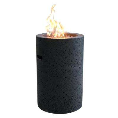 Lava Tube 27.6 in. x 18 in. Grey Round Concrete Propane Fire Pit Column with Electronic Ignition Cover and Lava Rock