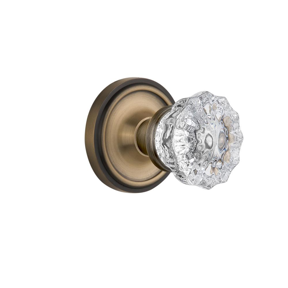 Classic Rosette 2-3/8 in. Backset Antique Brass Passage Hall/Closet Crystal