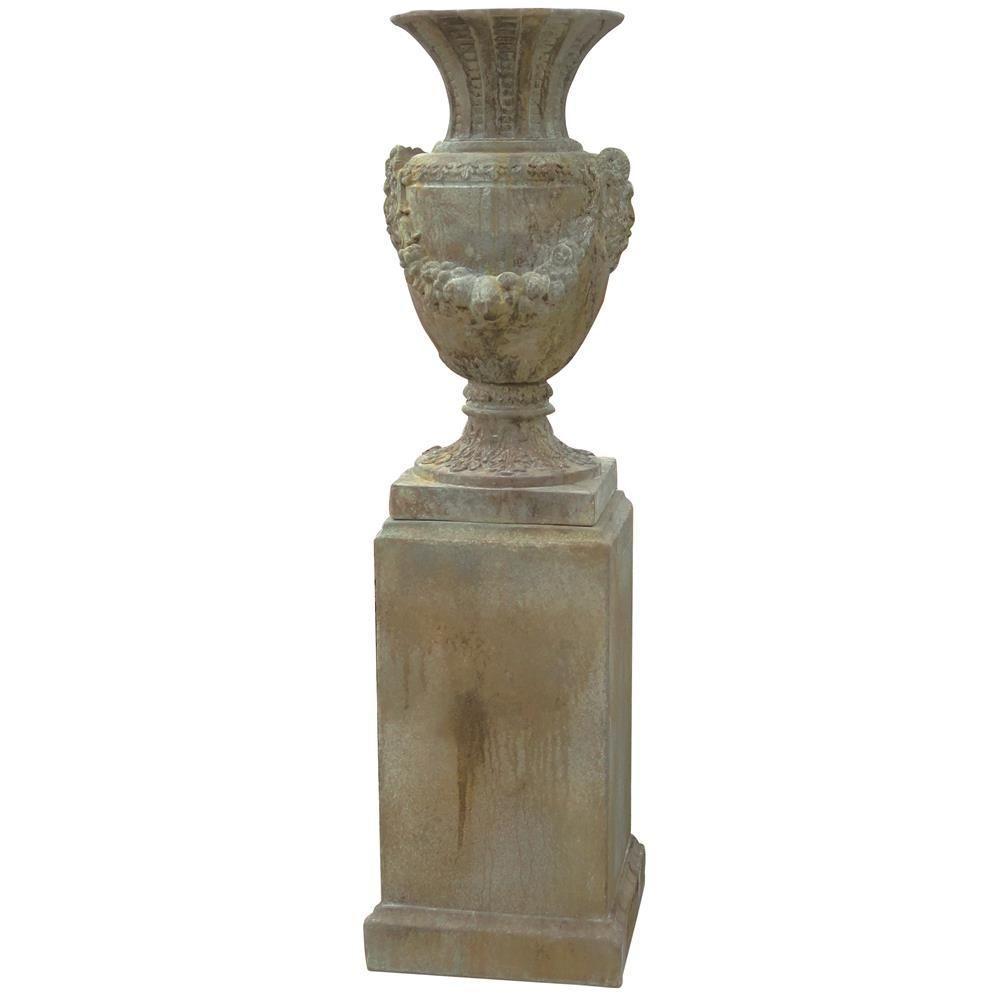 Augustus 18.5 in. x 35 in. Cement Garden Urn and Pedestal Planter (2-Pack)