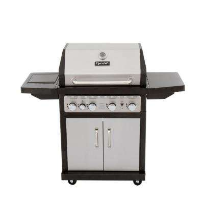 4-Burner Natural Gas Grill in Stainless Steel with Side Burner