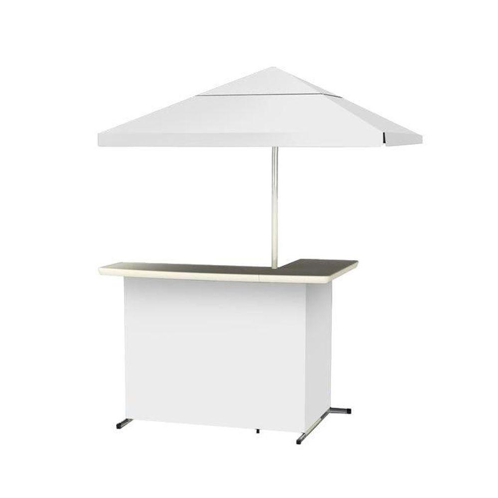 Simply White All-Weather L-Shaped Patio Bar with 6 ft. Umbrella