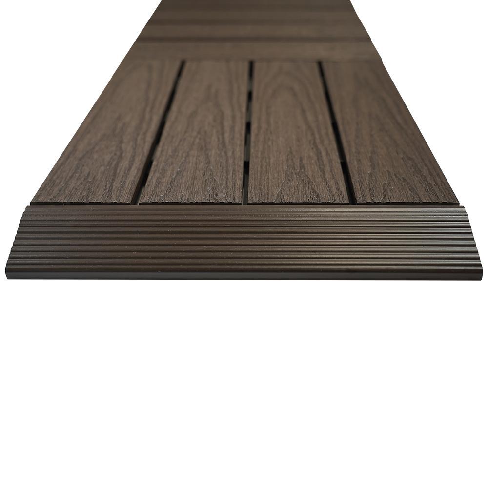 1/6 ft. x 1 ft. Quick Deck Composite Deck Tile Straight Trim in Indonesian Merbau (4-Pieces/Box)