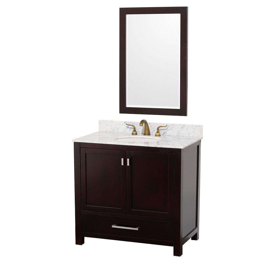 Wyndham Collection Abingdon 37 in. Vanity in Espresso with Marble Vanity Top in White Carrera with White Basin and Mirror-DISCONTINUED