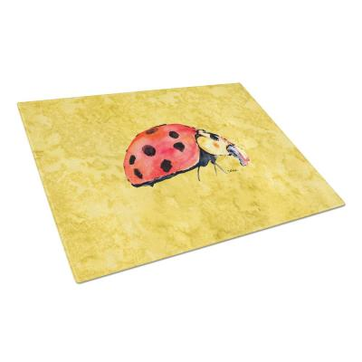 Lady Bug on Yellow Tempered Glass Large Cutting Board