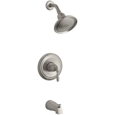 Devonshire 1-Handle Rite-Temp Tub and Shower Faucet Trim Kit in Brushed Nickel (Valve Not Included)