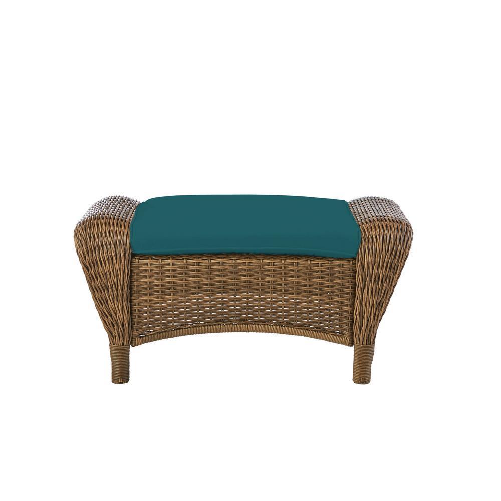 Beacon Park Brown Wicker Outdoor Patio Ottoman with Sunbrella Peacock Blue-Green Cushions