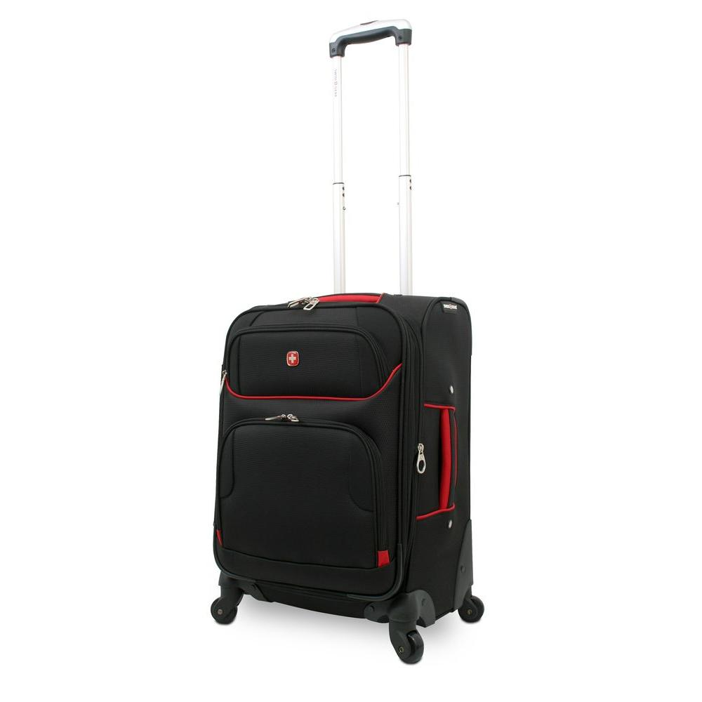 20 in. Black and Red Spinner Suitcase