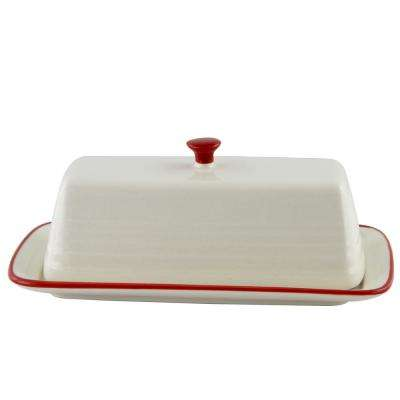 Hollydale 7.5 in. 2-Piece Red and Linen Butter Dish with Lid
