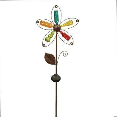 43 in. Solar Lighted Metal and Glass Flower Yard Stake