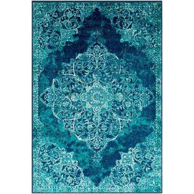 Sora Teal/Navy 6 ft. 7 in. x 9 ft. 6 in. Oriental Area Rug