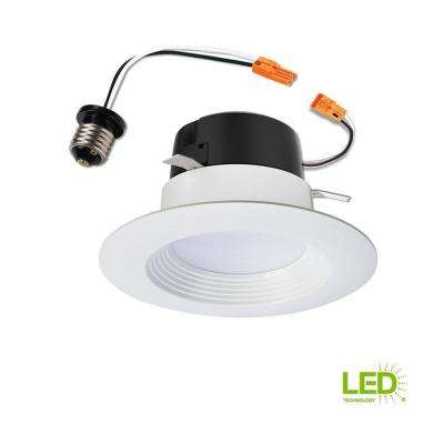 LT 4 in. White Integrated LED Recessed Ceiling Light Retrofit Trim at 2700K Warm White
