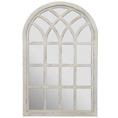 Farmhouse Cathedral Windowpane Arch Antique White Wall Mirror