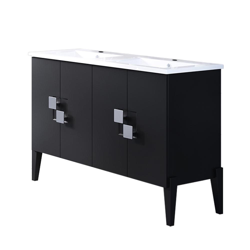 Mattawa 49 in. W x 18.5 in. D Bath Vanity in Black with Ceramic Vanity Top in White with White Basin