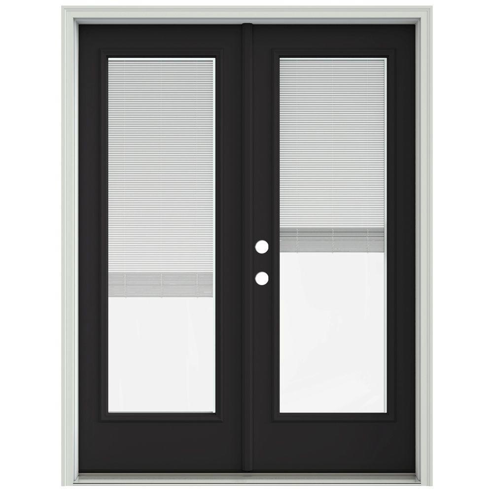 Jeld Wen 60 In X 80 In Chestnut Bronze Prehung Right Hand Inswing French Patio Door With