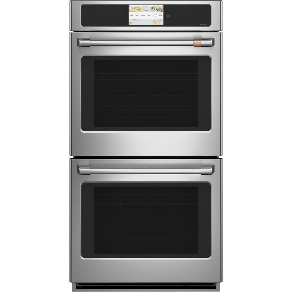 Cafe 27 in. Smart Double Electric Wall Oven with Self-Cleaning and Convection Upper Oven in Stainless Steel