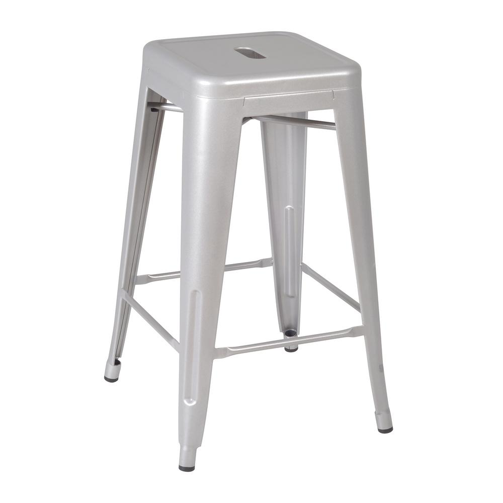 Regency Rivet 16 In Grey Stack Stool 1295gy The Home Depot