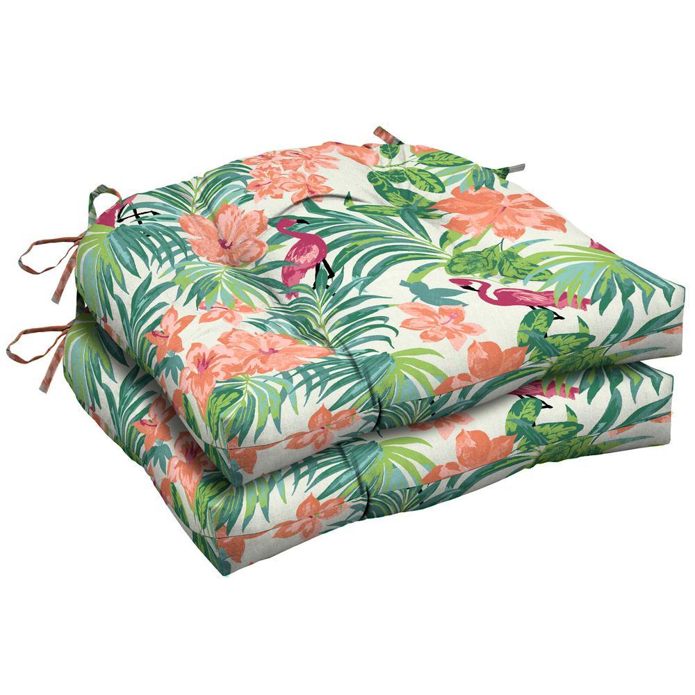 Luau Flamingo Tropical Tufted Square Outdoor Seat Cushion 2 Pack