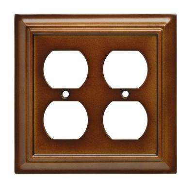 Architectural Wood Decorative Double Duplex Outlet Cover, Saddle