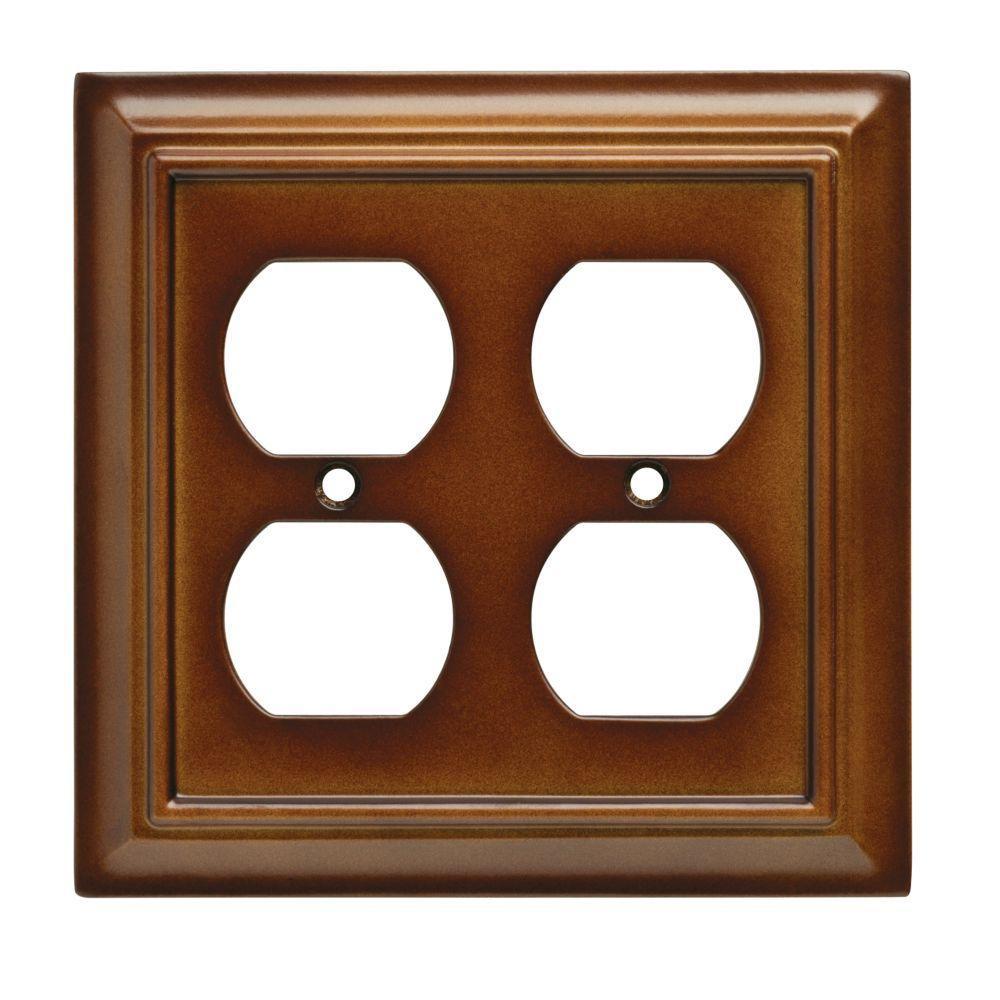 Architectural Wood Decorative Double Duplex Outlet Cover, Saddle