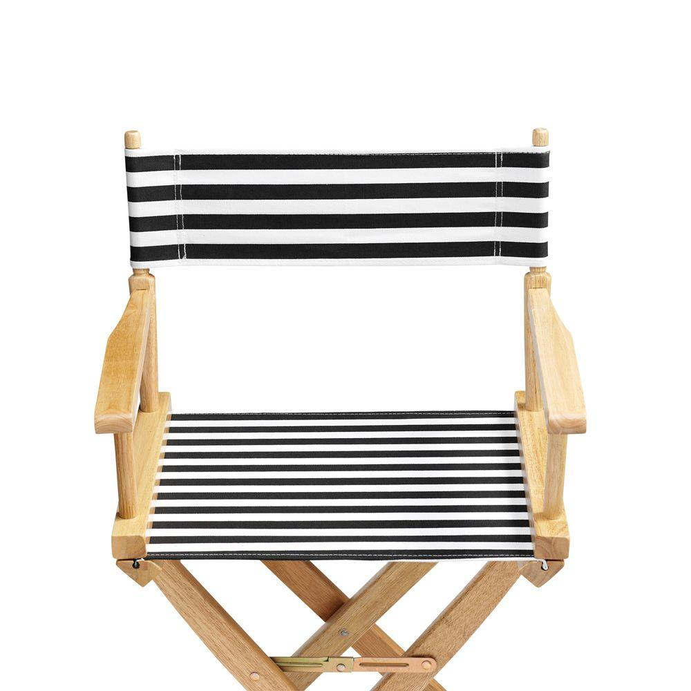 Home Decorators Collection Striped Black and White 18.5 in. Seat and Back Folding Chair- Cover Only