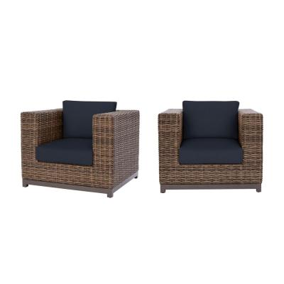Fernlake Taupe Wicker Outdoor Patio Stationary Lounge Chair with CushionGuard Midnight Navy Blue Cushions (2-Pack)