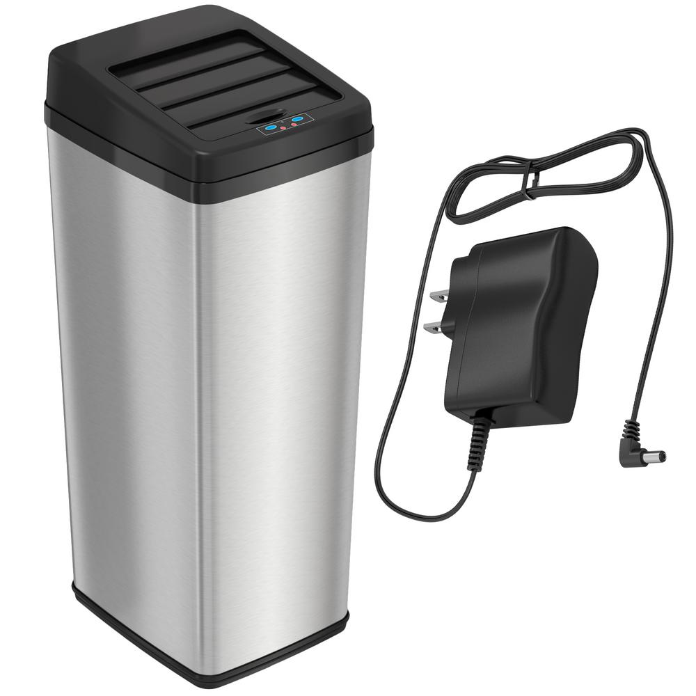itouchless 14 gal stainless steel sliding lid motion sensing rh homedepot com touchless kitchen trash can reviews costco touchless kitchen trash can