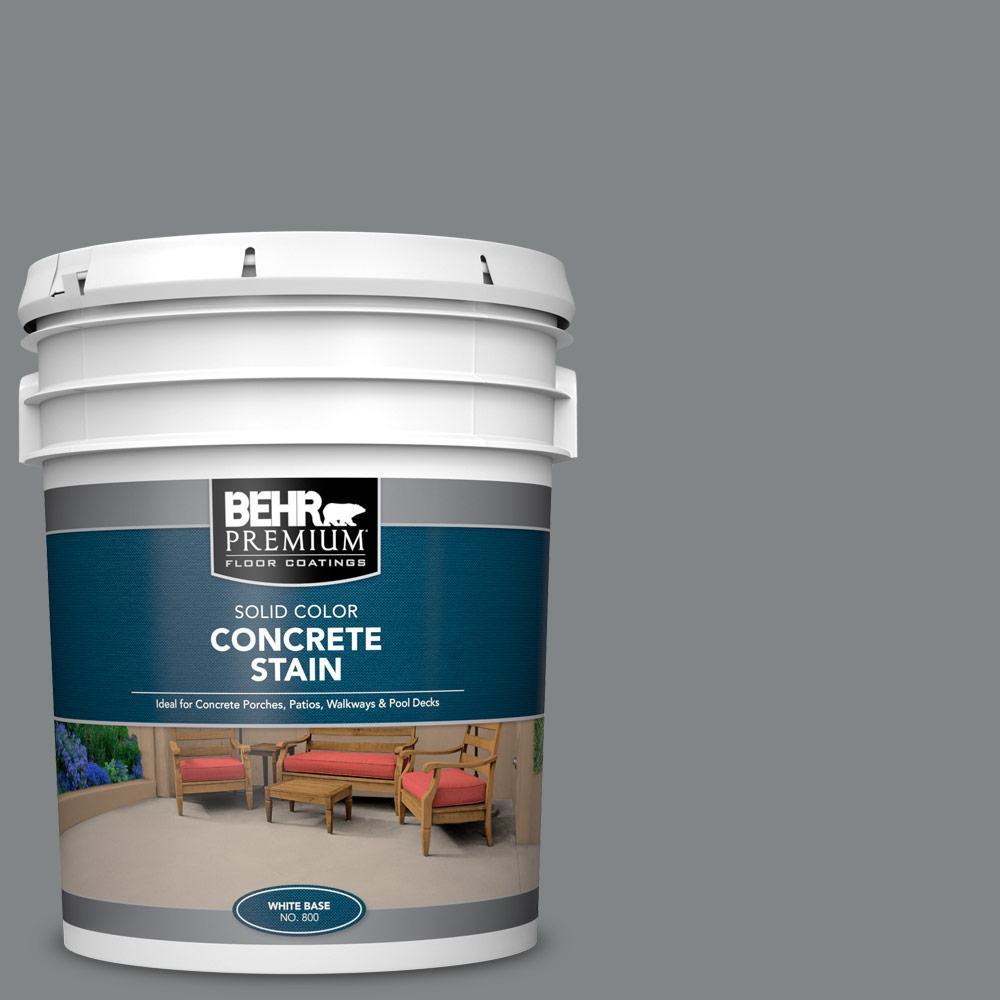 BEHR PREMIUM 5 gal. #PFC-63 Slate Gray Solid Color Flat Interior/Exterior Concrete Stain