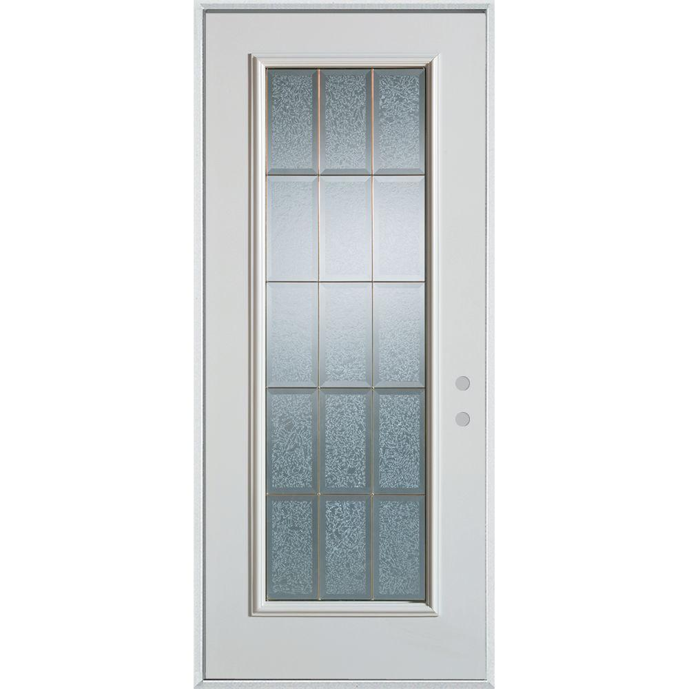 Stanley Doors 32 in. x 80 in. Geometric Clear and Zinc Full Lite Painted White Right-Hand Inswing Steel Prehung Front Door