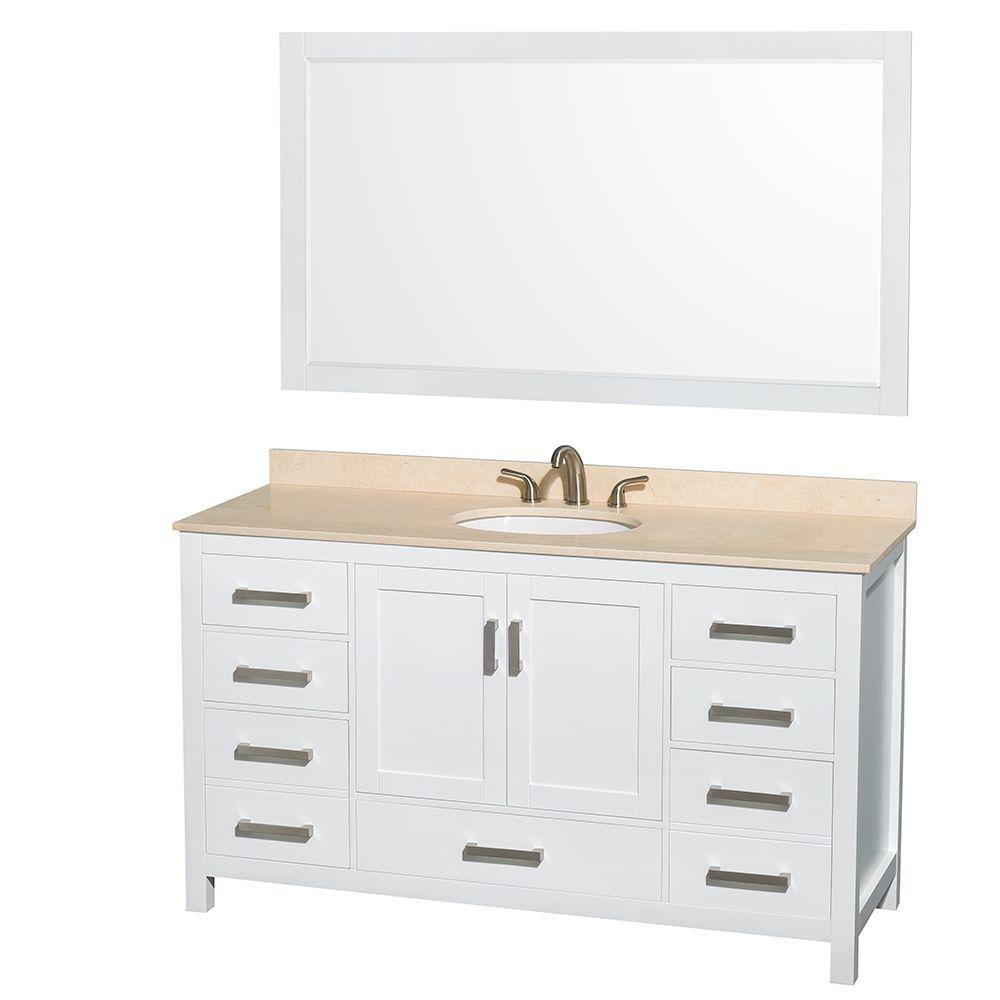 Wyndham Collection Sheffield 60 in. Vanity in White with Marble Vanity Top in Ivory and 58 in. Mirror