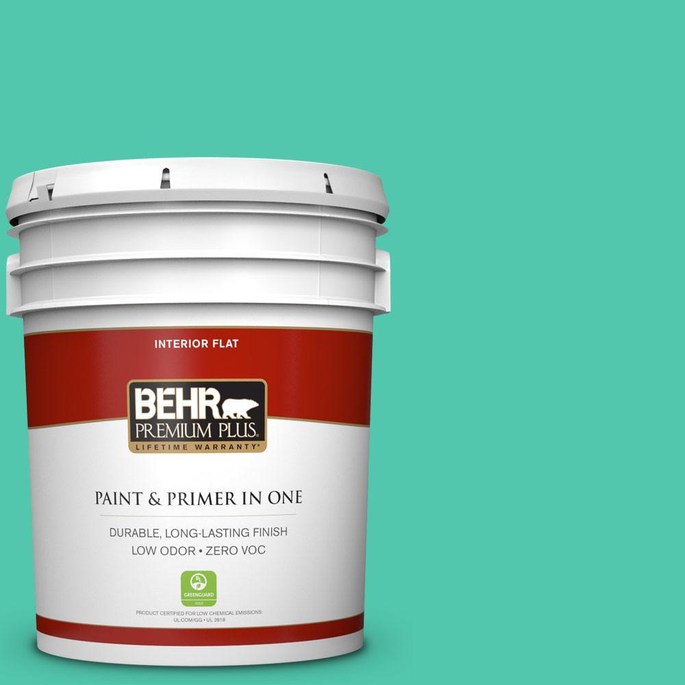 BEHR Premium Plus 5 gal. #P430-4 Kauai Flat Zero VOC Interior Paint and Primer in One