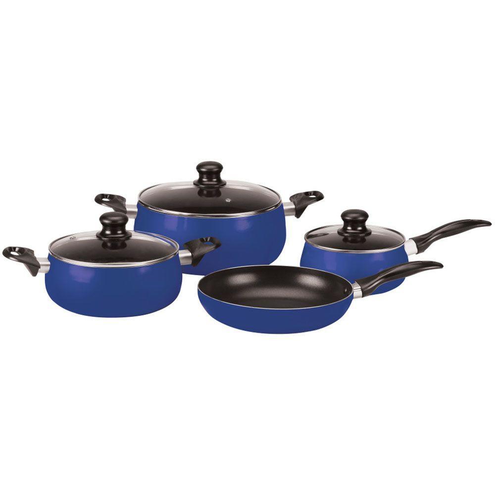 Vinaroz Venice 7-Piece Aluminum Cookware Set in Cobalt Blue-DISCONTINUED