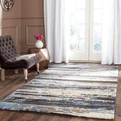 Retro Cream/Blue 8 ft. x 10 ft. Area Rug