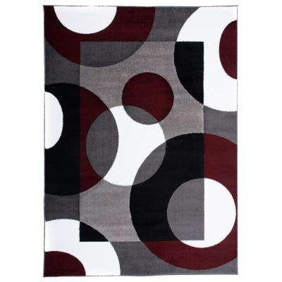 Contemporary Circles Burgundy 7 ft. 10 in. x 10 ft. 2 in. Indoor Area Rug
