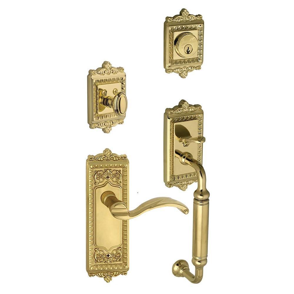 Grandeur Windsor Single Cylinder Lifetime Brass C-Grip Handleset with Left Handed Portofino Lever