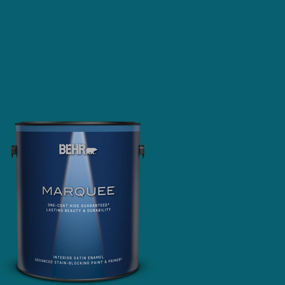 Behr Marquee 1 Gal T16 04 Galapagos Satin Enamel Interior Paint Primer 745301 The Home Depot