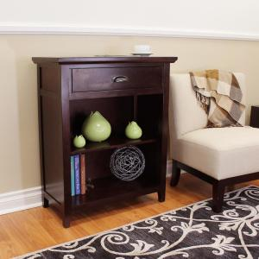 Lindendale 1-Drawer, 2-Shelf Espresso Bookcase