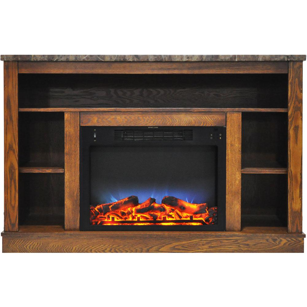 47 in. Electric Fireplace with a Multi-Color LED Insert and Walnut