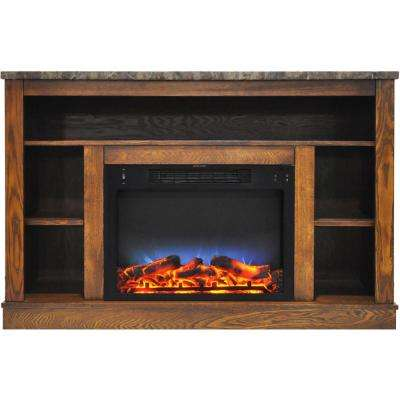 47 in. Electric Fireplace with a Multi-Color LED Insert and Walnut Mantel