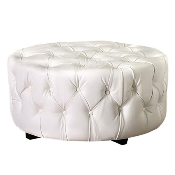 White Round Shape Bonded Leather Ottoman with Button Tufting 34.5 in. L x 14.5 in. W x 19 in. H