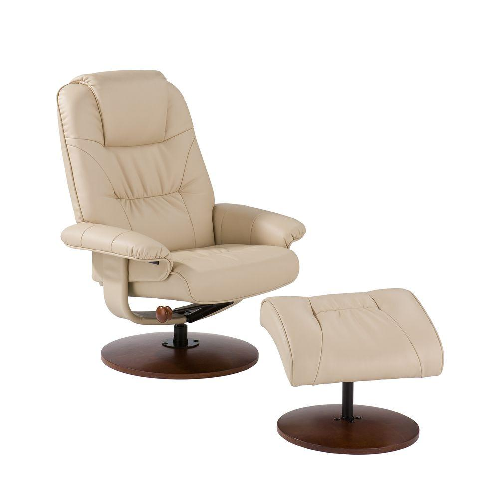Southern Enterprises Taupe Leather Reclining Chair With Ottoman