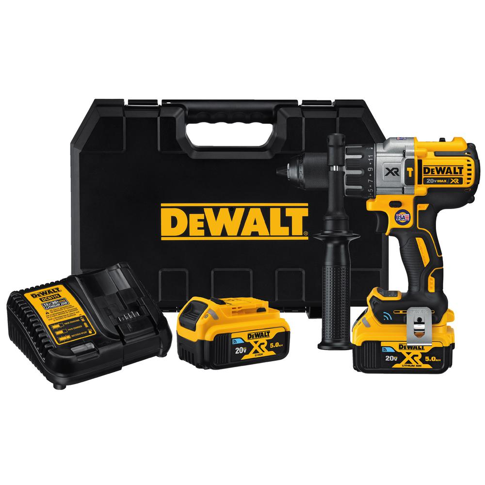 DEWALT 20-Volt Max Lithium-Ion Tool-Connect Cordless 1/2 inch Hammer Drill Kit w/ 2 Batteries 5.0 Ah and Charger