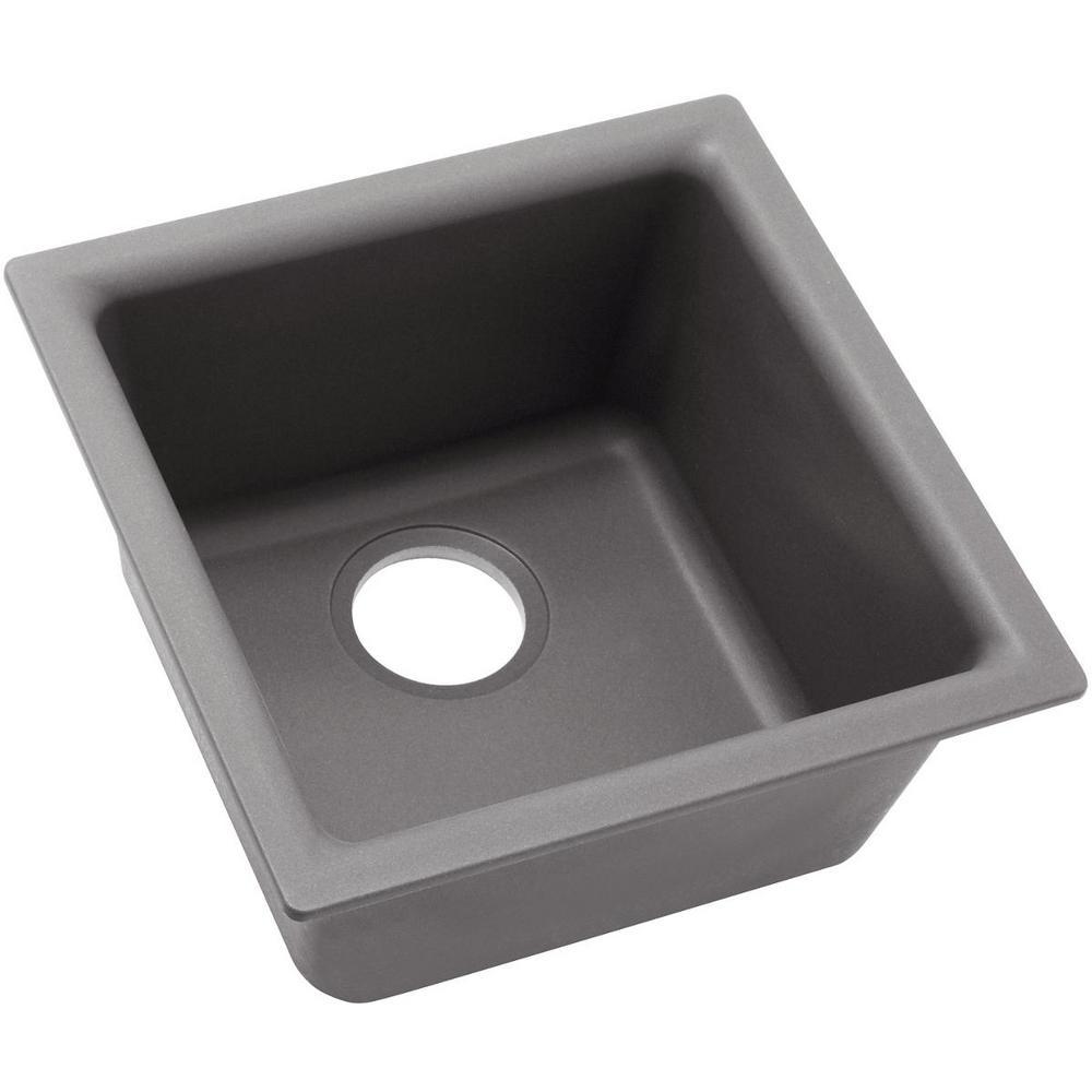 Quartz Classic Drop-In/Undermount Composite 16 in. Single Bowl Kitchen Sink in Greystone