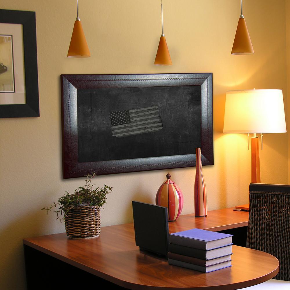 41.75 in. x 23.75 in. Espresso Leather Blackboard and Chalkboard B23-18/36