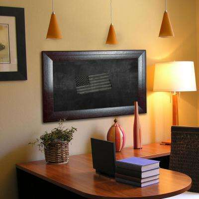 41.75 in. x 35.75 in. Espresso Leather Blackboard and Chalkboard