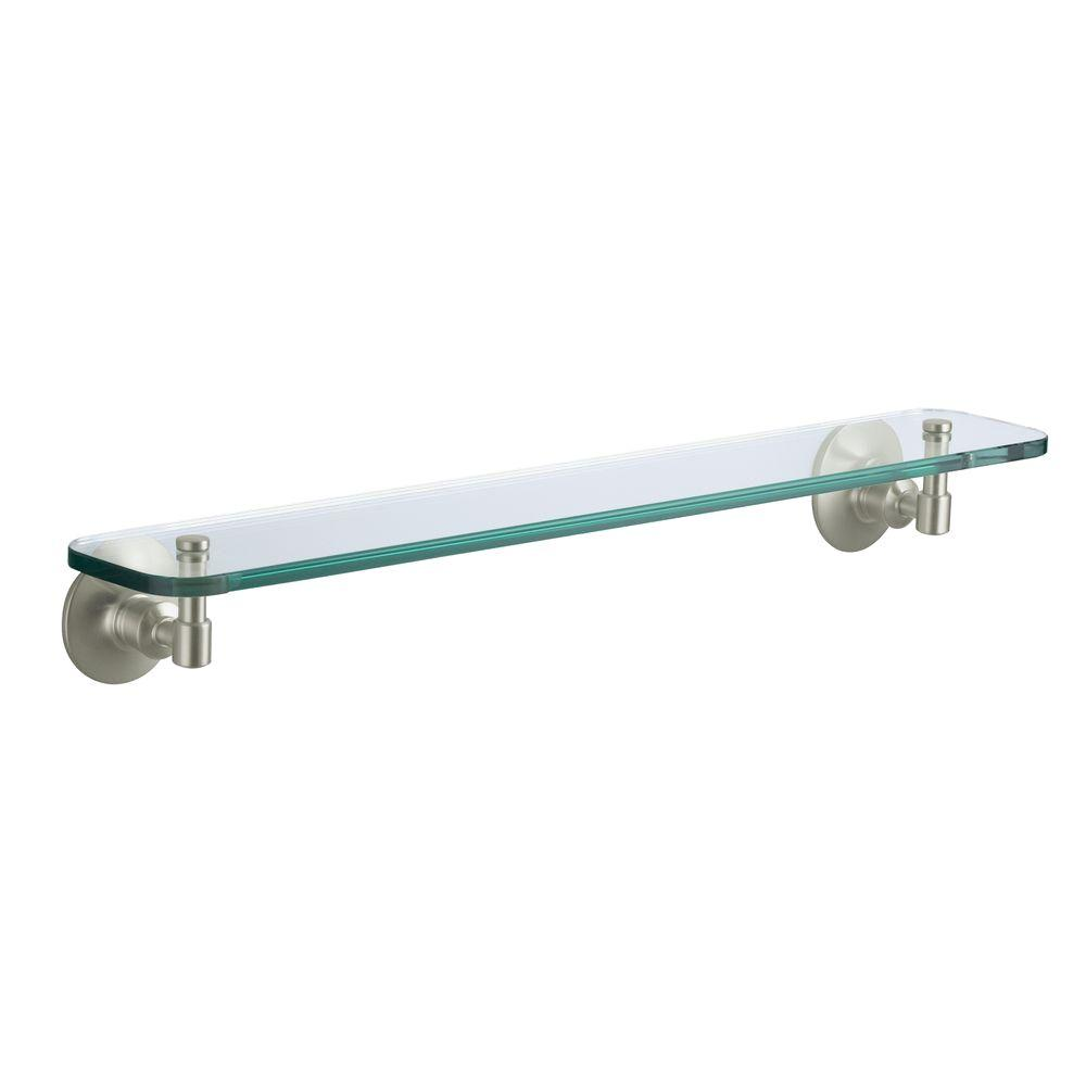 KOHLER Archer 24 in. W Wall-Mount Shelf in Glass and Vibrant Brushed Nickel