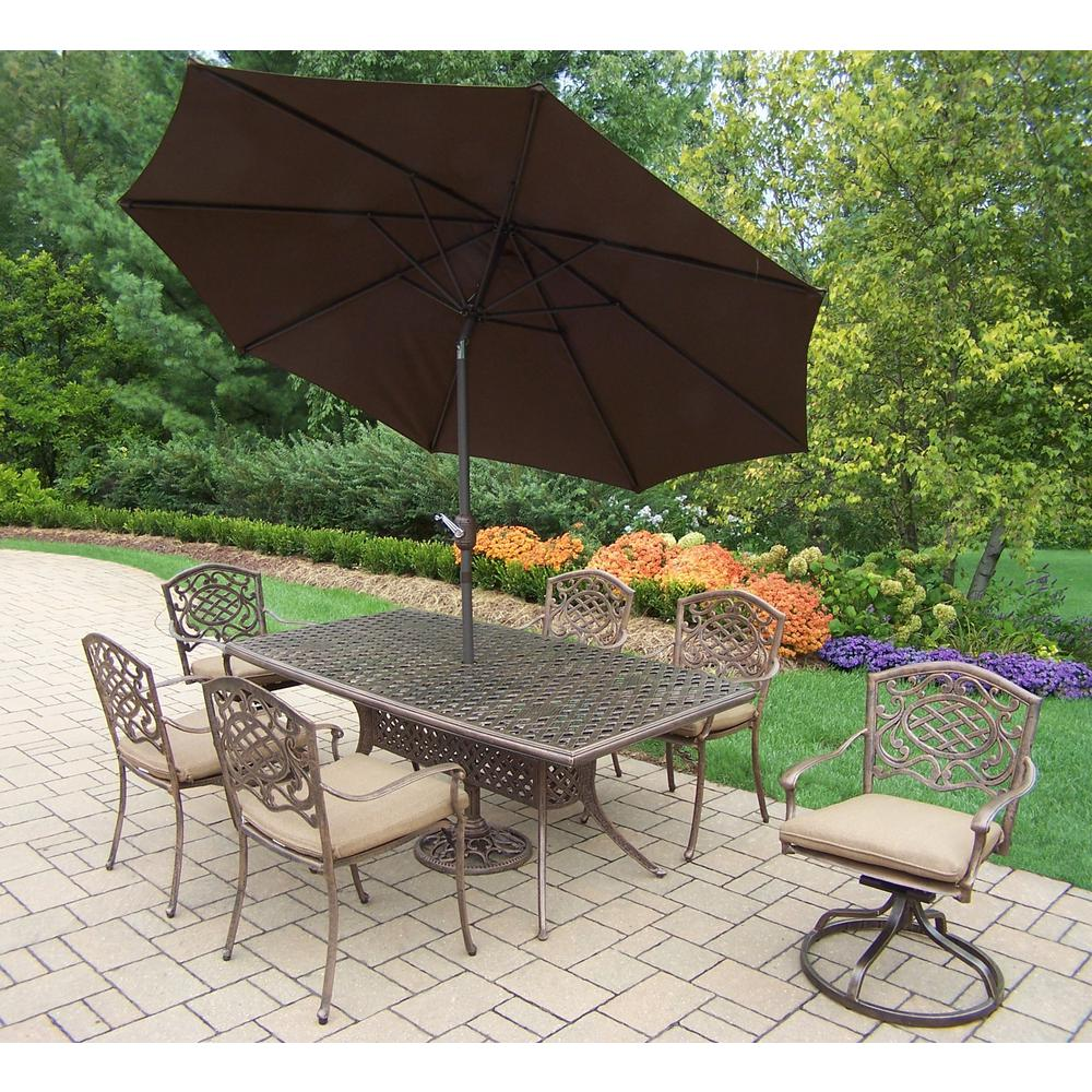 9-Piece Aluminum Outdoor Dining Set with Sunbrella Beige Cushions and Brown