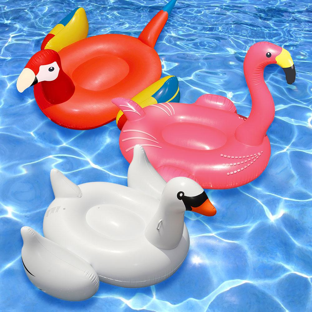 Swimline giant white swan flamingo and parrot swimming for Pool floats design raises questions
